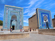 Blaues und weißes Mosaik auf Königen und Adliggrab stockbild