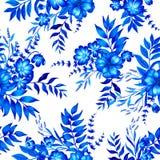 Blaues und weißes Muster mit Blumen Lizenzfreie Stockfotos