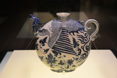Blaues und weißes Porzellan Yuan Dynastys Lizenzfreies Stockbild