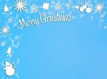 Blaues und weißes Weihnachtsdekorationspapier schnitt Rahmen auf Blau heraus stock abbildung