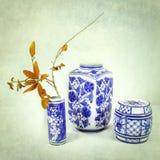 Blaues und weißes asiatisches Porzellan Lizenzfreies Stockbild