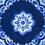 Blaues Velourmuster des Aquarells Lizenzfreie Stockfotografie