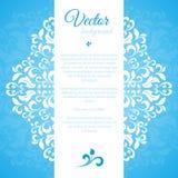 Blaues Verzierungsblumenblatt mit Raum für Text Lizenzfreies Stockfoto