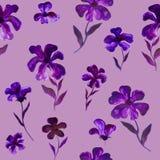 Blaues violettes purpurrotes Blumenillustrationsmuster - nahtloses Blumenmuster Stockfoto