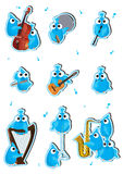 Blaues Vogel-Instrument Set_eps Stockfotos