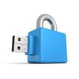 Blaues Vorhängeschloß des USB-Blitz-Antriebs auf weißem Hintergrund Stockfotos