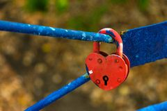 Blaues Vorhängeschloß in Form eines Herzens auf Eisenstangen stockfotografie