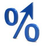 Blaues wachsendes Prozentzeichen Stockfotos