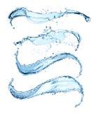 Blaues Wasser spritzt lokalisiert auf weißem Hintergrund Lizenzfreies Stockfoto