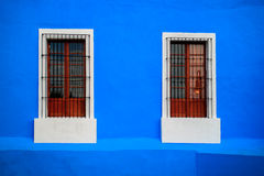Blaues weißes Fenster Stockbilder