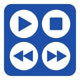 Blaues, weißes Zeichen - Ikone mit vier Musiksteuerknöpfen Stockbilder
