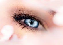 Blaues weibliches Auge Stockfoto
