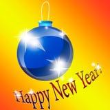 Blaues Weihnachten-Baumspielzeug auf einem orange Hintergrund Lizenzfreies Stockfoto
