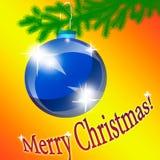 Blaues Weihnachten-Baumspielzeug auf einem orange Hintergrund Stockfotos