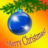 Blaues Weihnachten-Baumspielzeug auf einem orange Hintergrund Stockbilder