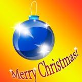 Blaues Weihnachten-Baumspielzeug auf einem orange Hintergrund Glückliches neues Jahr Stockbild
