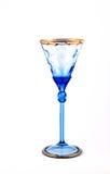 Blaues Weinglas für auf weißen Hintergrund Lizenzfreie Stockbilder
