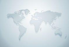 Blaues Weltkartenschattenbild Stockfotos
