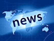 Blaues Weltnachrichtenkonzept Stockfoto