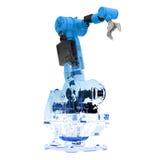 Blaues wireframe Roboterarm Stockfoto