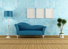 Blaues Wohnzimmer Stockfotos