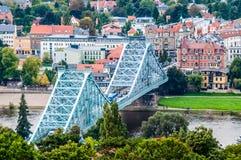 Blaues Wunder. Bridge crossing the Elbe called Blaues Wunder in Dresden Royalty Free Stock Image