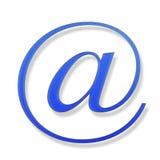 Blaues Zeichen auf einem weißen Hintergrund Stockfotos