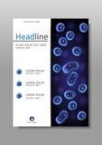 Blaues Zellkultur-Kernvektor-Abdeckungsdesign A4 Lizenzfreies Stockbild