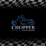 Blaues Zerhackermotorrad-Logosymbol und Zielflaggehintergrund Stockfotos
