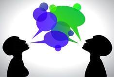Blaugrüne Gesprächskästen Stockbilder