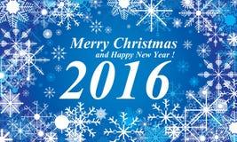 Blauhintergrund des Schnees, der frohen Weihnachten und des guten Rutsch ins Neue Jahr 2016 Schnee im Winter Lizenzfreie Stockbilder