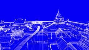Blaupause blauen Wikinger-Dorfs