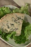 Blauschimmelkäse auf einem Blatt des Salats Lizenzfreies Stockfoto