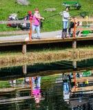 Blausee, Switerland -钓鱼VI的鳟鱼 免版税库存图片