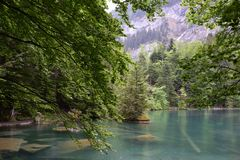 Lake Blausee, Switzerland. stock photography