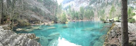 Blausee Zurich Schweiz Oberland. Blue lake Switzerland Stock Photo