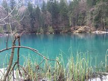 Blausee Zurich Schweiz Oberland. Blue lake Switzerland Royalty Free Stock Photos