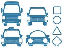 Blauset Transportschattenbilder Stockfotografie