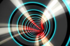 Blauspirale mit rotem Licht Stockfotografie