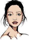 Blauäugige Frau, die kein Make-up trägt Lizenzfreie Stockbilder