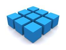Blauw 3d kubusvierkant Stock Afbeeldingen