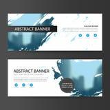 Blauw abstract artistiek collectief bedrijfsbannermalplaatje, horizontaal het malplaatje vlak ontwerp reclame van de bedrijfsbann royalty-vrije illustratie