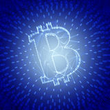 Blauw Abstract Bitcoin-Teken dat als Serie van Transacties in de Conceptuele 3d Illustratie van Blockchain wordt gebouwd Royalty-vrije Stock Foto