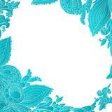 Blauwe abstracte bloemenornamentachtergrond Stock Foto
