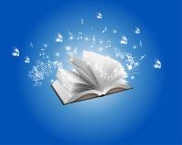 Blauw Abstract Boek en Melodie Backround Stock Foto's