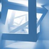Blauw abstract 3d binnenland met kubussen Stock Foto's