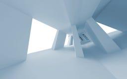 Blauw abstract 3d leeg binnenland met perspectief Stock Foto