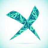 Blauw abstract driehoeken geïsoleerd vector dwarsteken vector illustratie