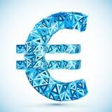 Blauw abstract driehoeken vector euro symbool Stock Illustratie