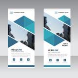 Blauw abstract driehoeks Bedrijfsbroodje op malplaatje van het Banner het vlakke ontwerp stock illustratie